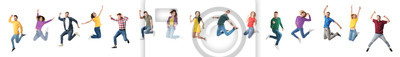 Plakat Collage of emotional people jumping on white background. Banner design