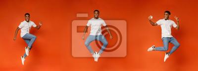 Plakat Collage of jumping black guy on orange