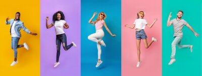 Plakat Collage of millennial jumping people of different nations on color background, panorama