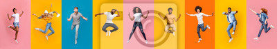 Plakat Collage of positive multiracial young people jumping over colorful backgrounds