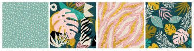 Plakat Collage tropical and polka dot seamless pattern set. Modern exotic design for paper, fabric, interior decor