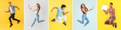 Plakat Collage with different jumping people holding their laptops