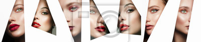 Plakat collage. young beautiful women. female faces with makeup