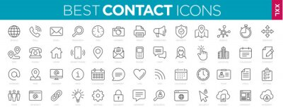 Plakat Collection Contact icons line Web and mobile icon. Chat, support, message, phone. Vector illustration
