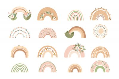 Plakat Collection cute rainbows with flowers in pastel colors isolated on white background for kids. Illustration in hand drawn style for posters, prints, cards, fabric, children's books. Vector