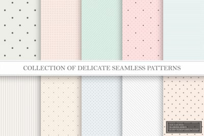 Plakat Collection of color repeatable delicate patterns. Dotted, striped tileable textures. You can find seamless backgrounds in swatches panel