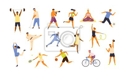 Plakat Collection of cute funny men and women performing various sports activities. Bundle of happy training or exercising people isolated on white background. Vector illustration in flat cartoon style.