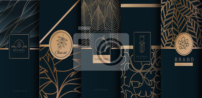Plakat Collection of design elements,labels,icon,frames, for logo,packaging,design of luxury products.for perfume,soap,wine, lotion.Made with Isolated on black background.vector illustration
