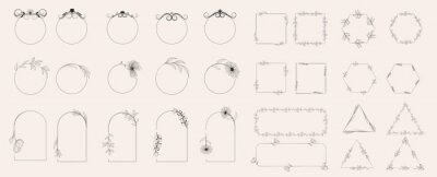 Plakat Collection of geometric vector flower frames. Round, oval, triangular, square borders decorated with hand-drawn delicate flowers. Trendy Line drawing, lineart style. Vector illustration