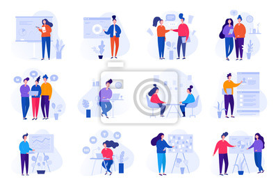 Plakat Collection of illustrations with people working in the office, making a presentation, negotiating and discussing business issues, developing ideas