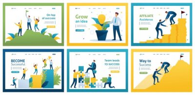 Plakat Collection of landing pages. Businessmen achieve goals, professional growth, mentoring, leadership, success. 2D characters