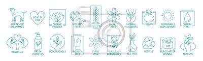 Plakat Collection of linear symbols or badges for natural eco friendly handmade products, organic cosmetics, vegan and vegetarian food isolated on white background. Vector illustration in line art style.