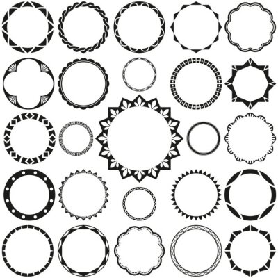 Plakat Collection of Round Decorative Border Frames with Clear Background. Ideal for vintage label designs.