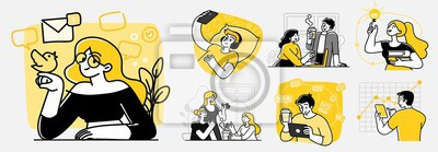 Plakat Collection of scenes at office. Bundle of men and women taking part in business meeting, negotiation, brainstorming, talking to each other. Outline vector illustration in cartoon style.