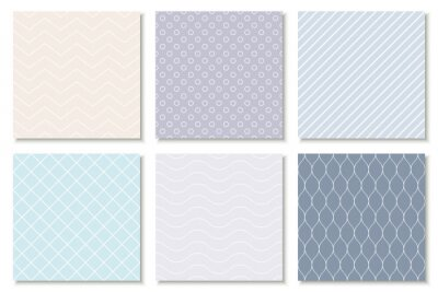 Plakat Collection of seamless geometric minimalistic patterns - delicate design. Vector colorful trendy endless backgrounds, cards