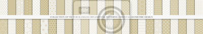 Plakat Collection of seamless geometric ornamental vector patterns. Grid oriental backgrounds. Vintage white and beige design