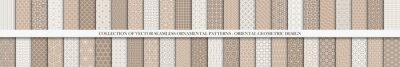 Plakat Collection of seamless ornamental vector patterns. Trendy white and brown oriental backgrounds. Creative tile mosaic design