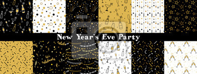 Plakat Collection of seamless pattern designs for celebrations , birthday and graduation party. In gold, white and black colors. Vector illustration