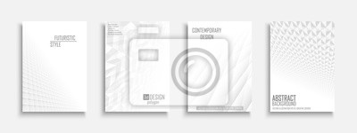 Plakat Collection of vector abstract contemporary templates, covers, placards, brochures, banners, flyers, backgrounds. White futuristic 3d design with creative geometric shapes and vision perspective