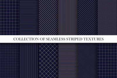Plakat Collection of vector seamless geometric patterns. Dark grid striped backgrounds. Endless unusual linear textures