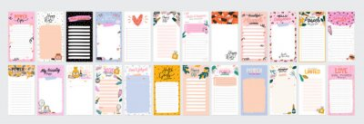 Plakat Collection of weekly or daily planner, note paper, to do list, stickers templates decorated by cute beauty cosmetic illustrations and trendy lettering. Trendy scheduler or organizer. Flat vector