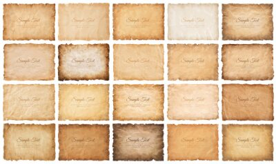 Plakat collection set old parchment paper sheet vintage aged or texture isolated on white background.