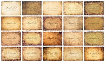 Plakat collection set old parchment paper sheet vintage aged or texture isolated on white background