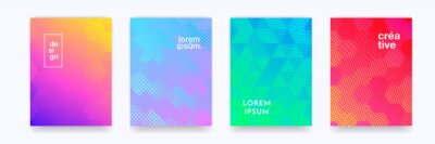 Plakat Color gradient background, geometric halftone pattern, vector abstract trendy line graphic design. Simple minimal elements in halftone color gradient, modern pattern backgrounds