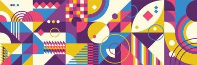 Plakat Colorful abstract geometric pattern design in retro style. Vector illustration.