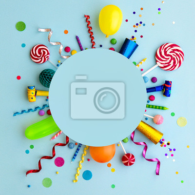 Plakat Colorful birthday party flat lay background