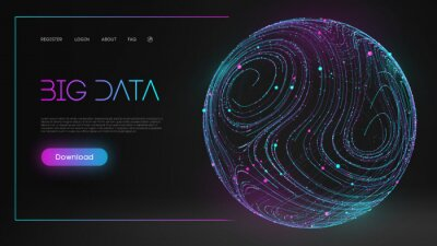 Plakat Colorful data. Blue futuristic background. Abstract sphere energy field. Blue sphere shield on dark background EPS 10.