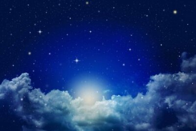 Plakat colorful fantasy night cloudy sky with stars