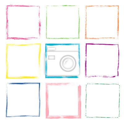 Plakat Colorful hand drawn vector set with cute grunge square frames and borders for kids products