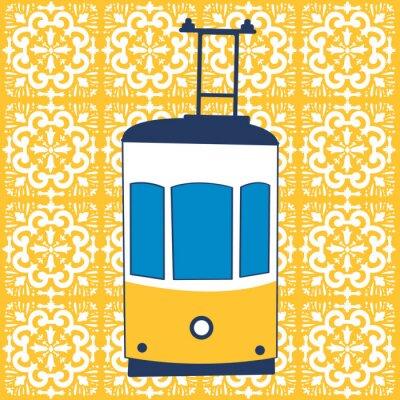 Plakat Colorful illustration of traditional Lisbon tram