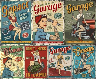 Plakat Colorful pin up posters collection