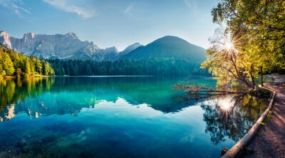Plakat Colorful summer view of Fusine lake. Bright morning scene of Julian Alps with Mangart peak on background, Province of Udine, Italy, Europe. Traveling concept background.
