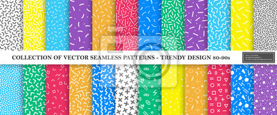Plakat Colorful vibrant vector collection of memphis seamless patterns. Fashion design 80-90s. Bright stylish textures.