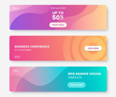 Plakat Colorful web banner with push button. Collection of horizontal promotion banners with pastel gradient colors and abstract geometric backdrop.Header design. Vibrant coupon template. Vector eps 10