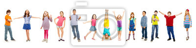 Plakat Combination of boys and girls isolated on white