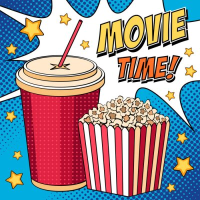 Plakat Comic ilustracji z pudełko popcorn i cola w stylu pop art
