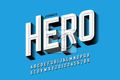 Plakat Comics hero style font design, alphabet letters and numbers