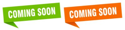 Plakat coming soon banner. coming soon speech bubble label set. coming soon sign