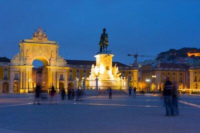 Plakat Commerce Square w Lizbonie w nocy