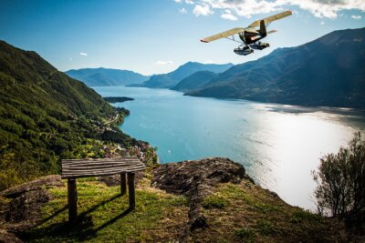Plakat Como lake  - seaplane