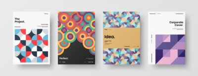 Plakat Company identity brochure template collection. Business presentation vector A4 vertical orientation front page mock up set. Corporate report cover abstract geometric illustration design layout bundle.