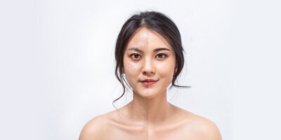 Plakat Comparison Asian women before and after applying makeup, Portrait asian girl compare fresh skin and makeup.