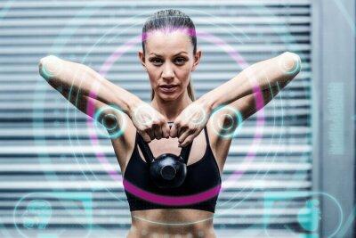 Plakat Composite obraz mięśni Kobieta podnoszenia kettlebells