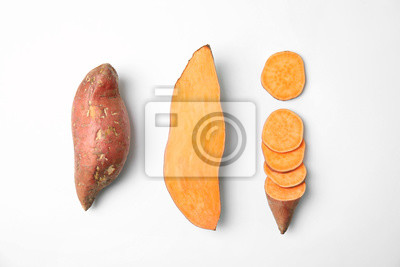 Plakat Composition with sweet potatoes on white background, top view