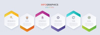 Plakat Concept of arrow business model with 6 successive steps. Six colorful graphic elements. Timeline design for brochure, presentation. Infographic design layout