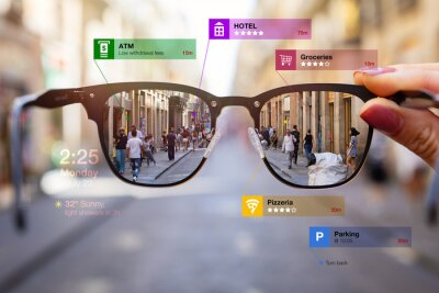 Plakat Concept of augmented reality technology being used in futuristic smart tech glasses